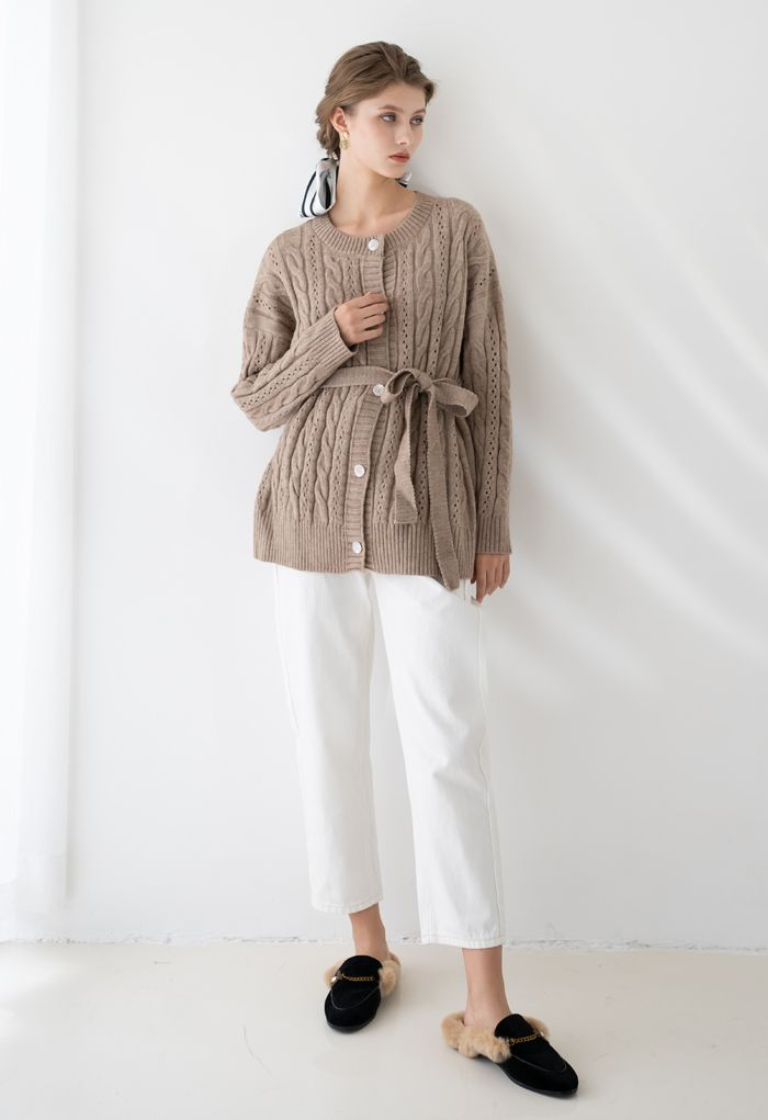 Braid Texture Buttoned Belted Cardigan in Taupe