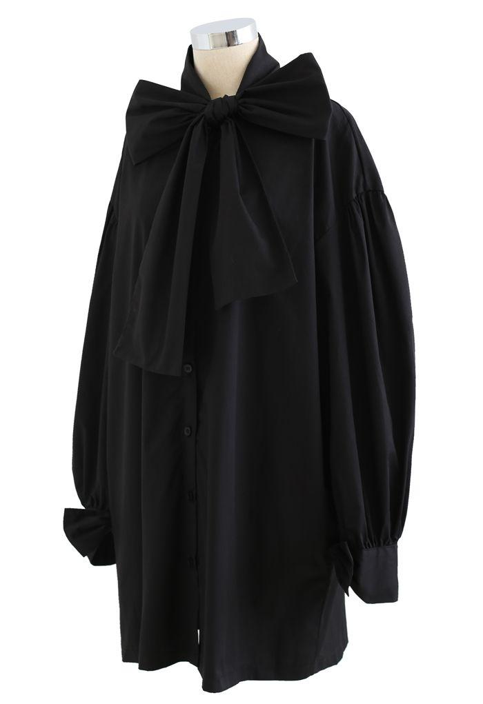 Bowknot Button Down Tunic Shirt Dress in Black
