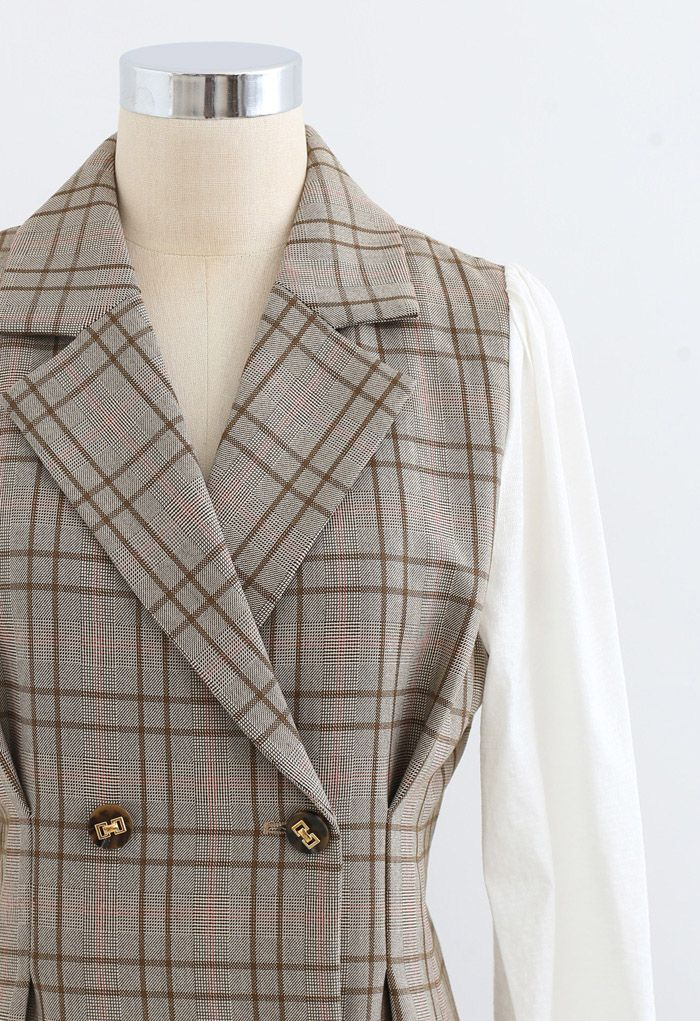 Contrast Sleeves Double-Breasted Grid Blazer Dress