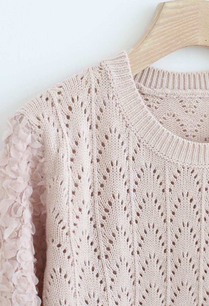 3D Flower Lace Sleeves Eyelet Knit Sweater in Dusty Pink