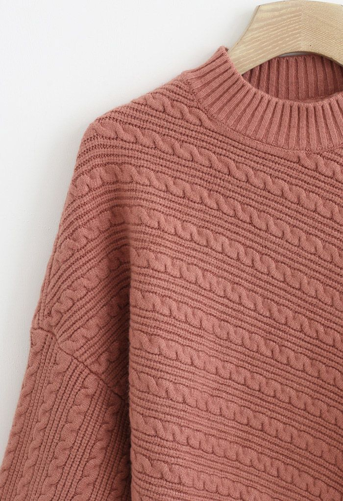 Batwing Sleeves Braid Knit Sweater in Coral