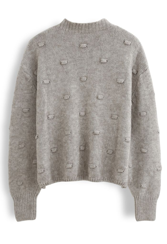 3D Dot High Neck Knit Sweater in Taupe