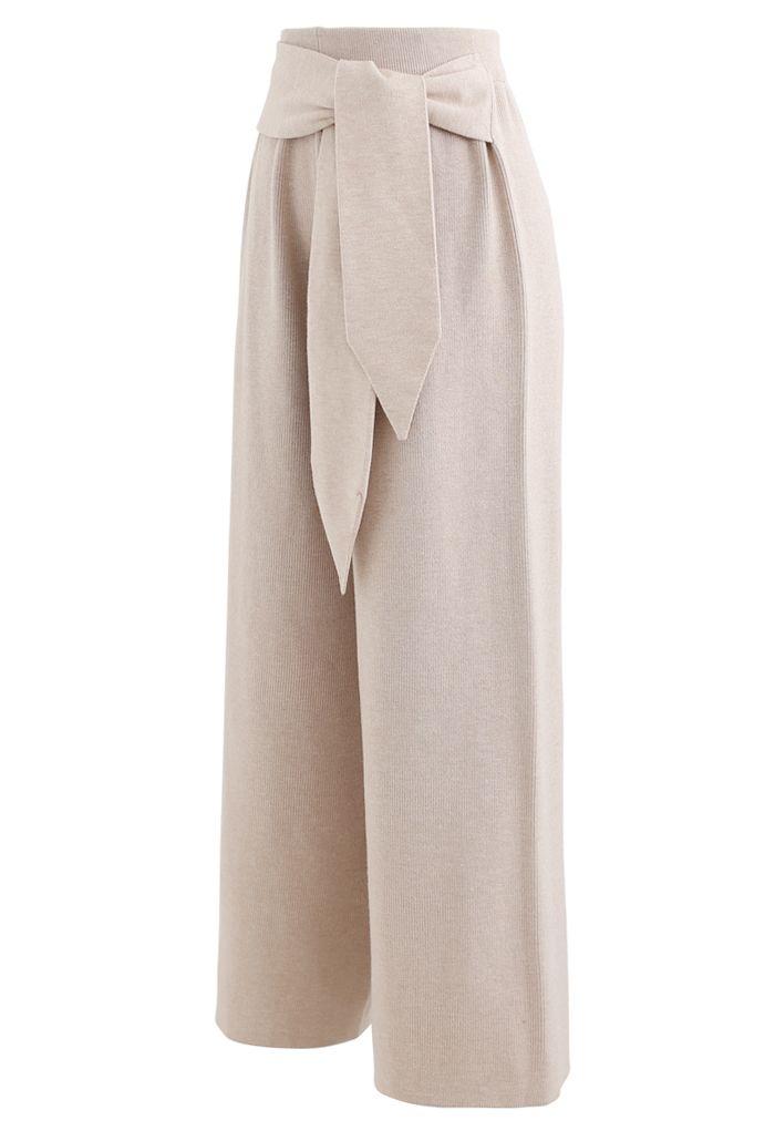 Self-Tie Waist Knit Wide-Leg Pants in Tan
