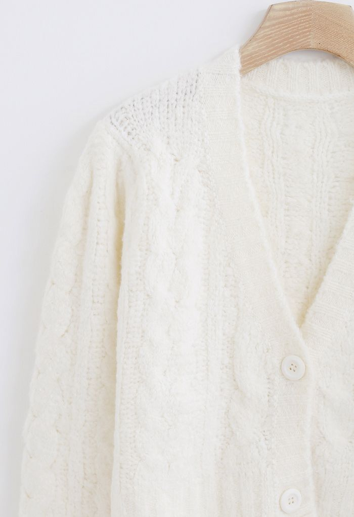 V-Neck Fuzzy Knit Crop Cardigan in Ivory