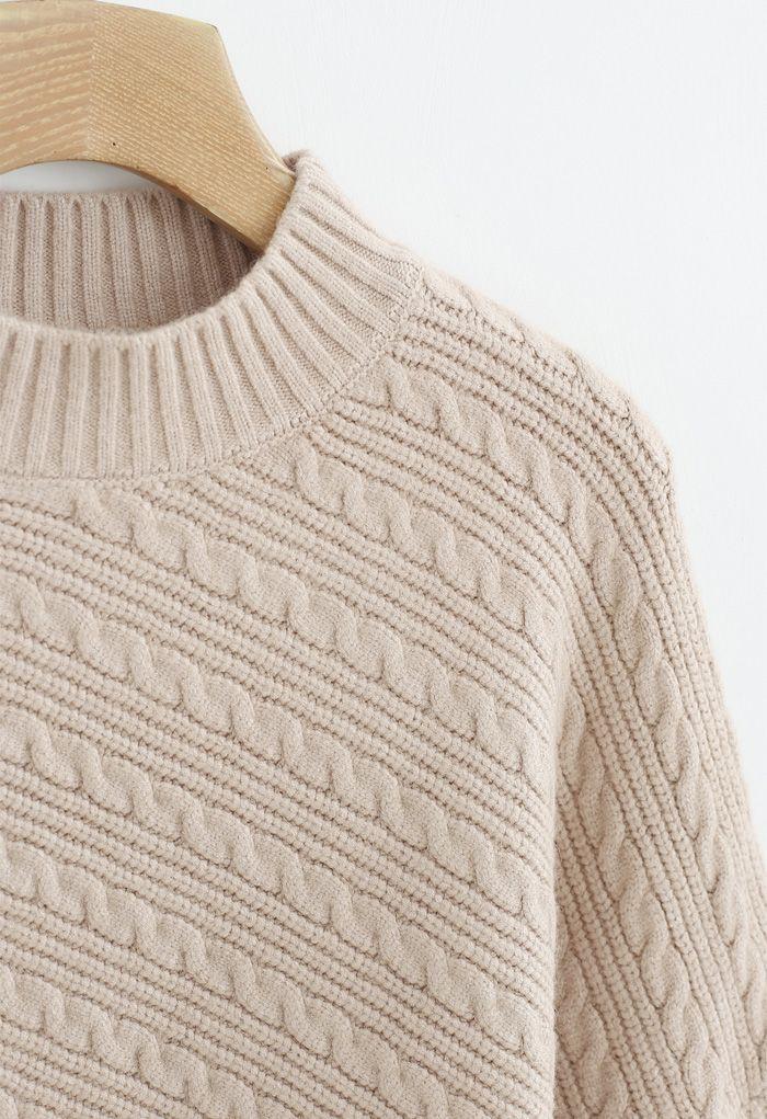 Batwing Sleeves Braid Knit Sweater in Tan