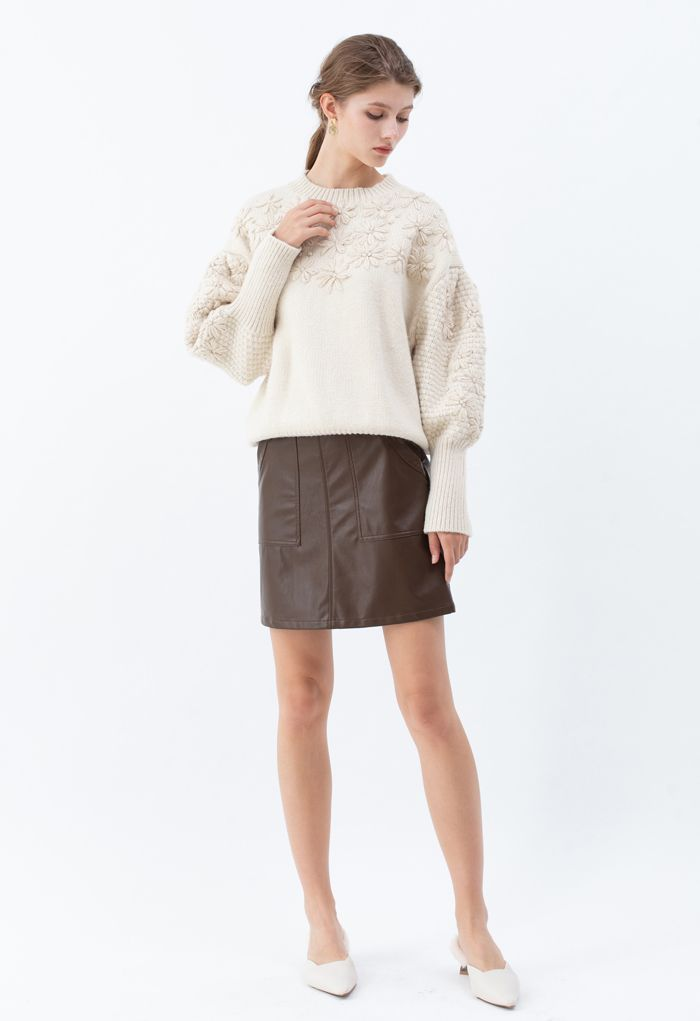 Flowers Stitched Puff Sleeves Knit Sweater