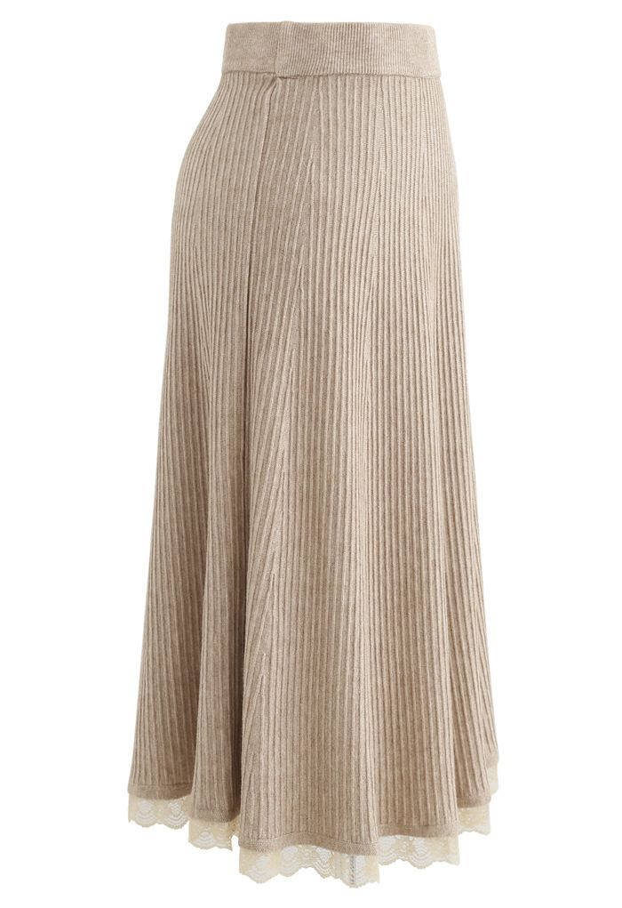A-Line Lace Hem Knit Skirt in Tan