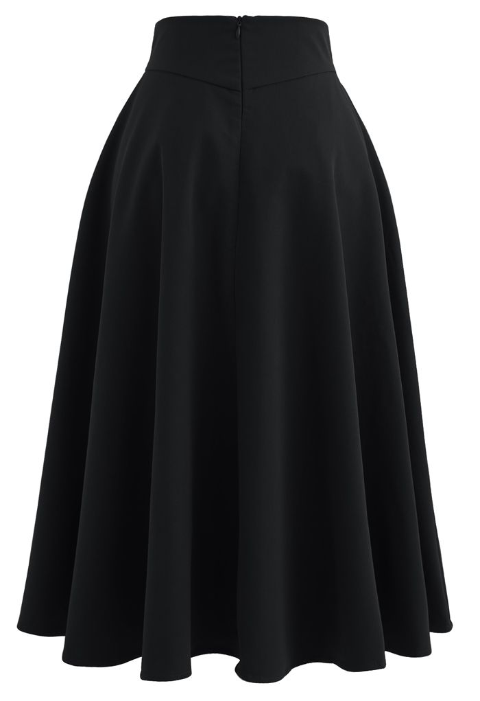 Classic Simplicity A-Line Midi Skirt in Black