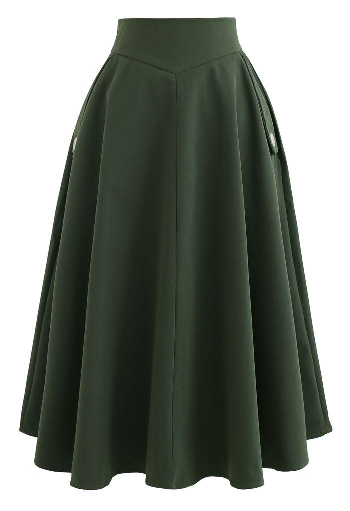 Classic Simplicity A-Line Midi Skirt in Dark Green