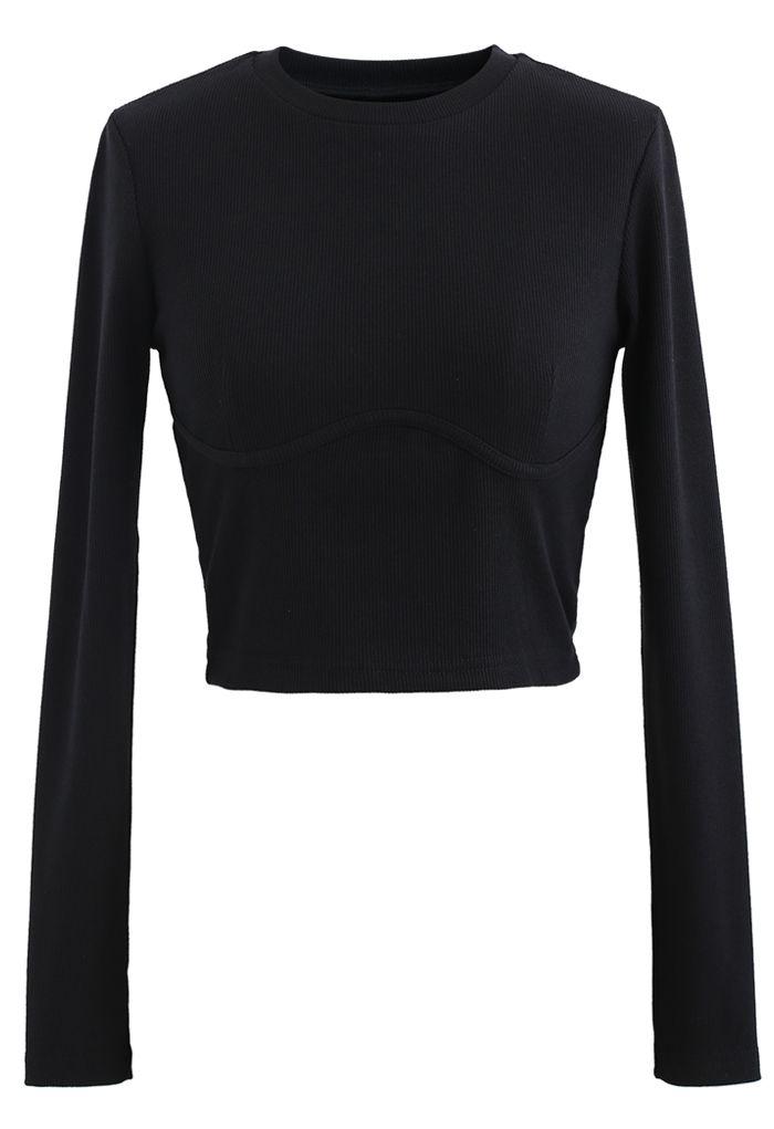 Cotton Long Sleeves Black Crop Top