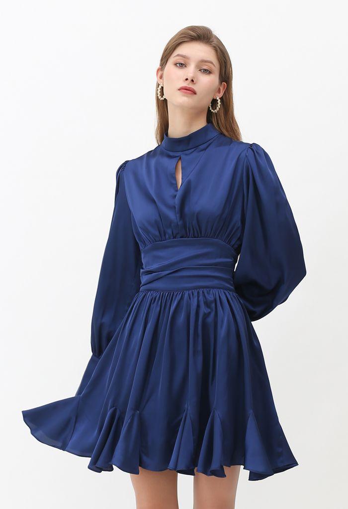 High Neck Puff Sleeves Satin Ruffle Dress in Navy