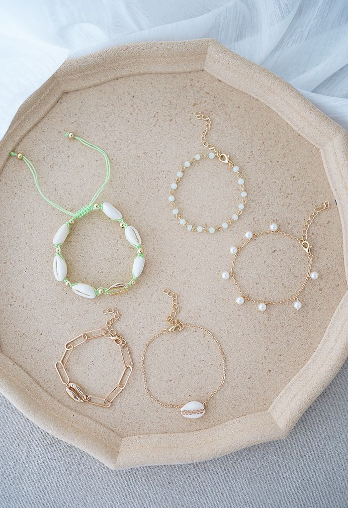 5 Packs Shell Pearl and Beads Chain Bracelets