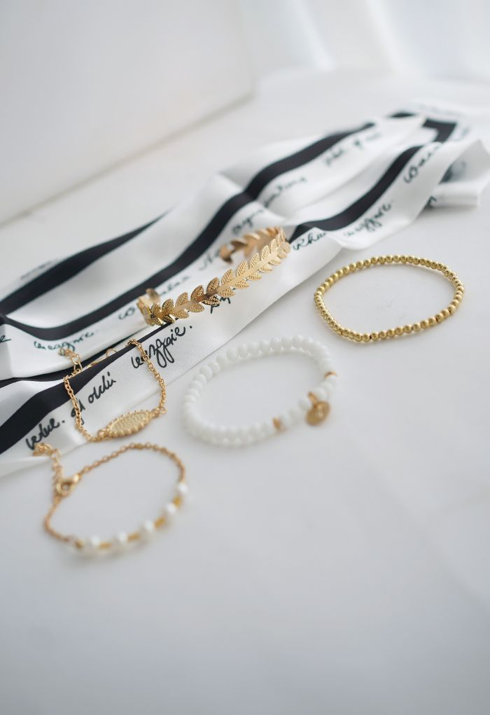 5 Packs Metal Beads Bangle Bracelets