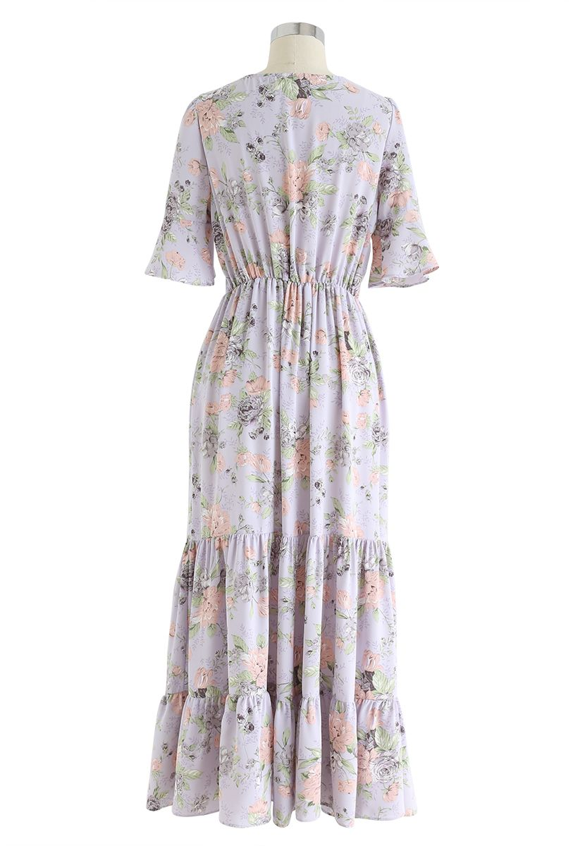 Demure Floral Print Wrapped Maxi Dress in Lavender