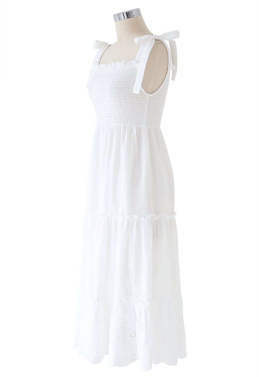 Shoulder Tie Shirred Embroidered Ruffle Dress in White