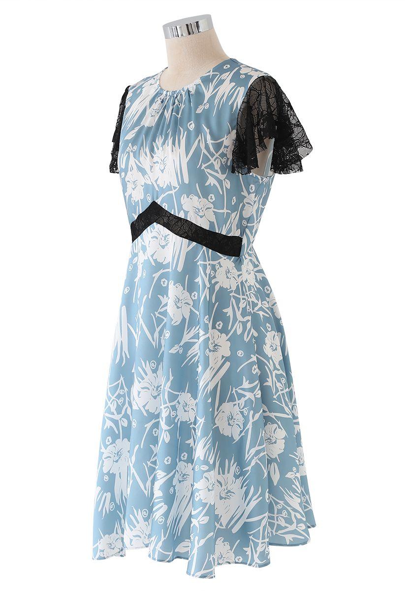 Lace Trim Flare Midi Dress in Blue