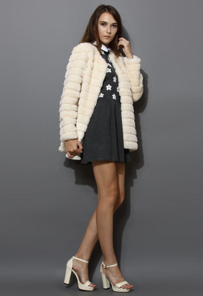 Quilted Faux Fur Coat in Cream