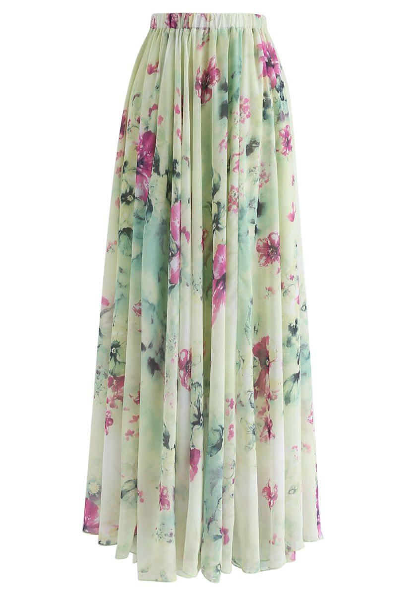 Floral and Frill Maxi Skirt