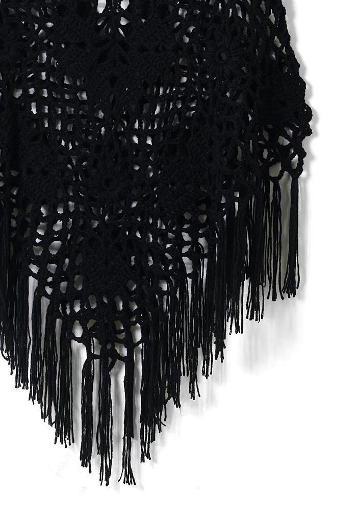 Delicate Hand-knit Fringe Cape in Black