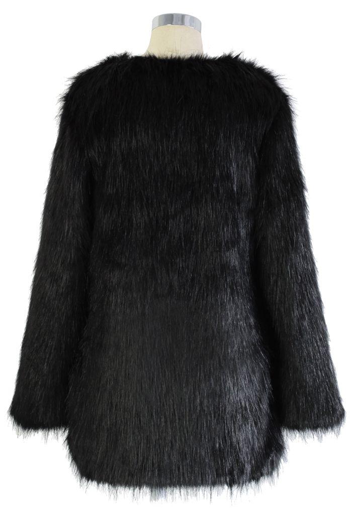 Chicwish Glam Black Faux Fur Coat
