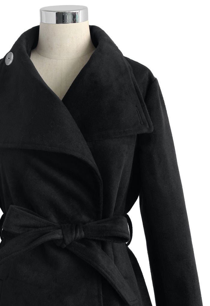 Urban Chic Belted Woolen Coat in Black