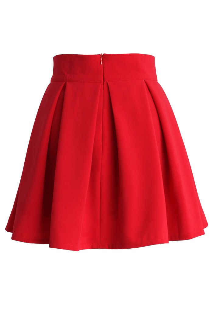 Sweet Your Heart Bowknot Pleated Skirt in Ruby