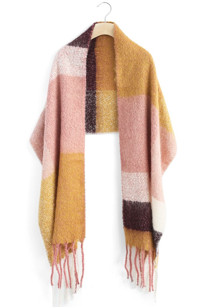 Mellow Block Fringed Scarf
