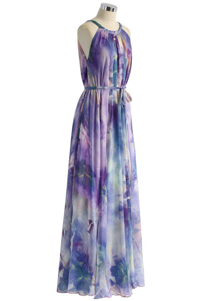 Floral Watercolor Maxi Slip Dress in Violet