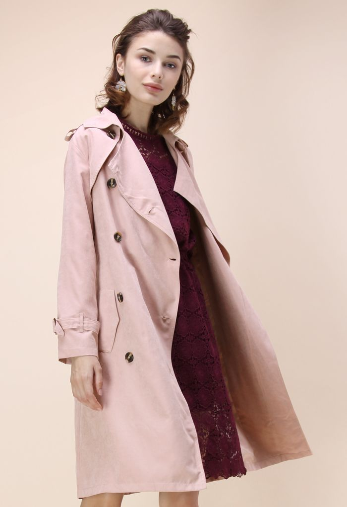 Refined Double-breasted Trench Coat in Pastel Pink