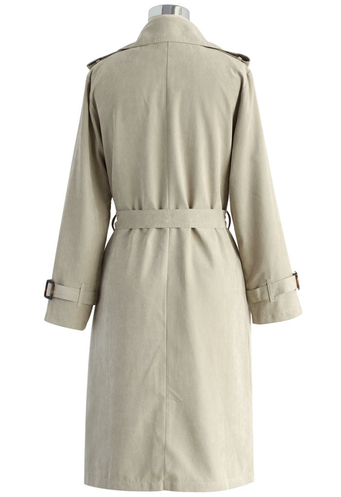 Refined Double-breasted Trench Coat in Sand