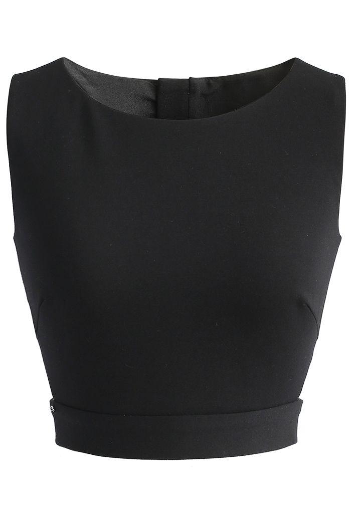 A Fan of Bowknot Crop Top in Black