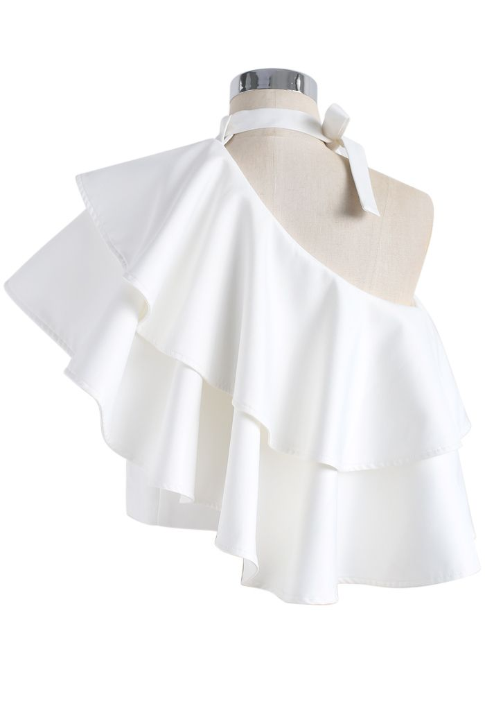 Ritzy One-shoulder Ruffled Crop Top in White