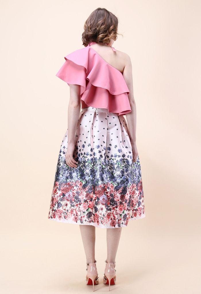 Ritzy One-shoulder Ruffled Crop Top in Pink