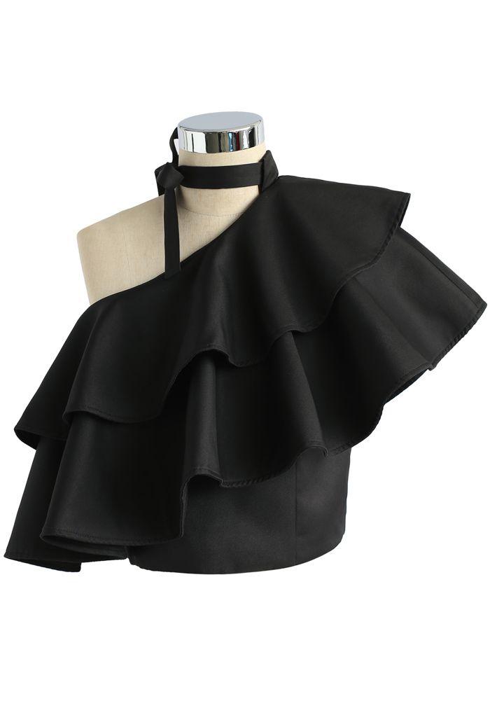 Ritzy One-shoulder Ruffled Crop Top in Black
