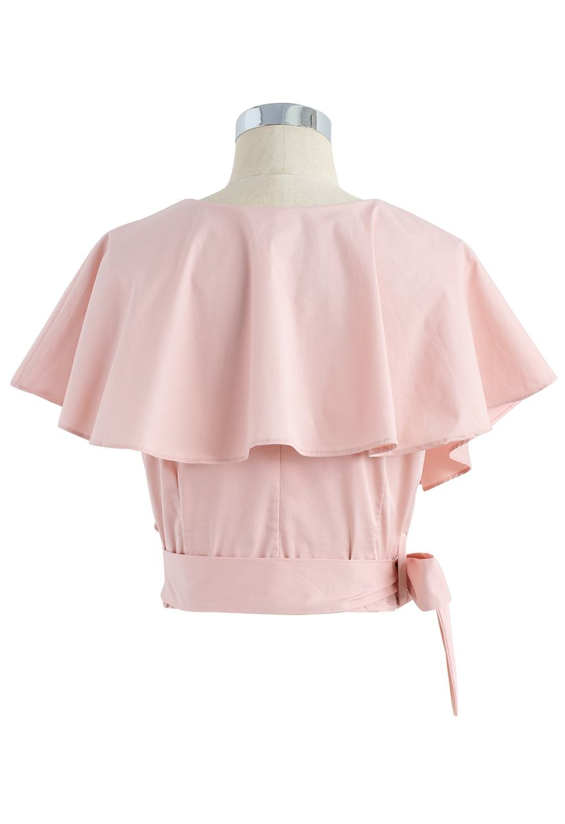 Appealing Sweet Frilling Crop Top in Pink