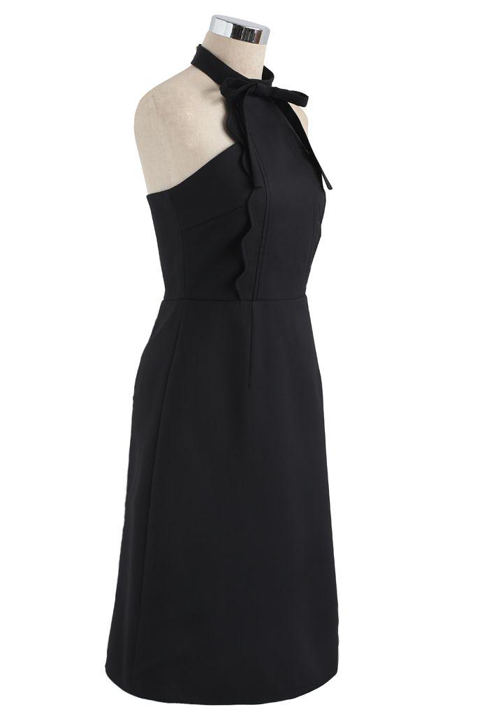 Latest Infatuation Halter Neck Dress in Black