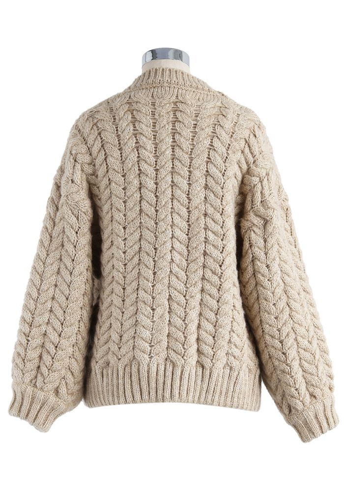 Nice to Knit You Chunky Cardigan in Sand