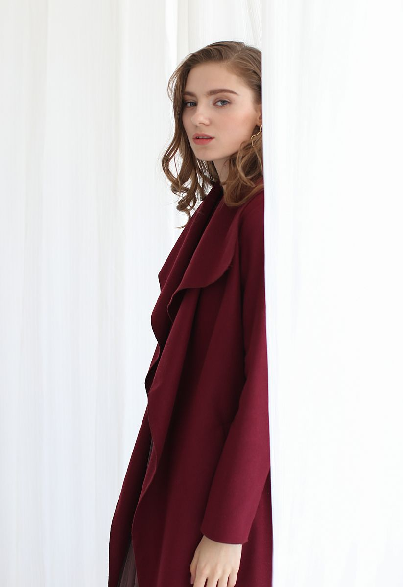 Free Myself Open Front Wool-Blend Coat in Wine