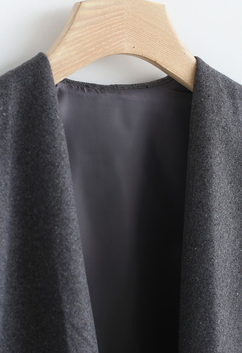Free Myself Open Front Wool-Blend Coat in Grey