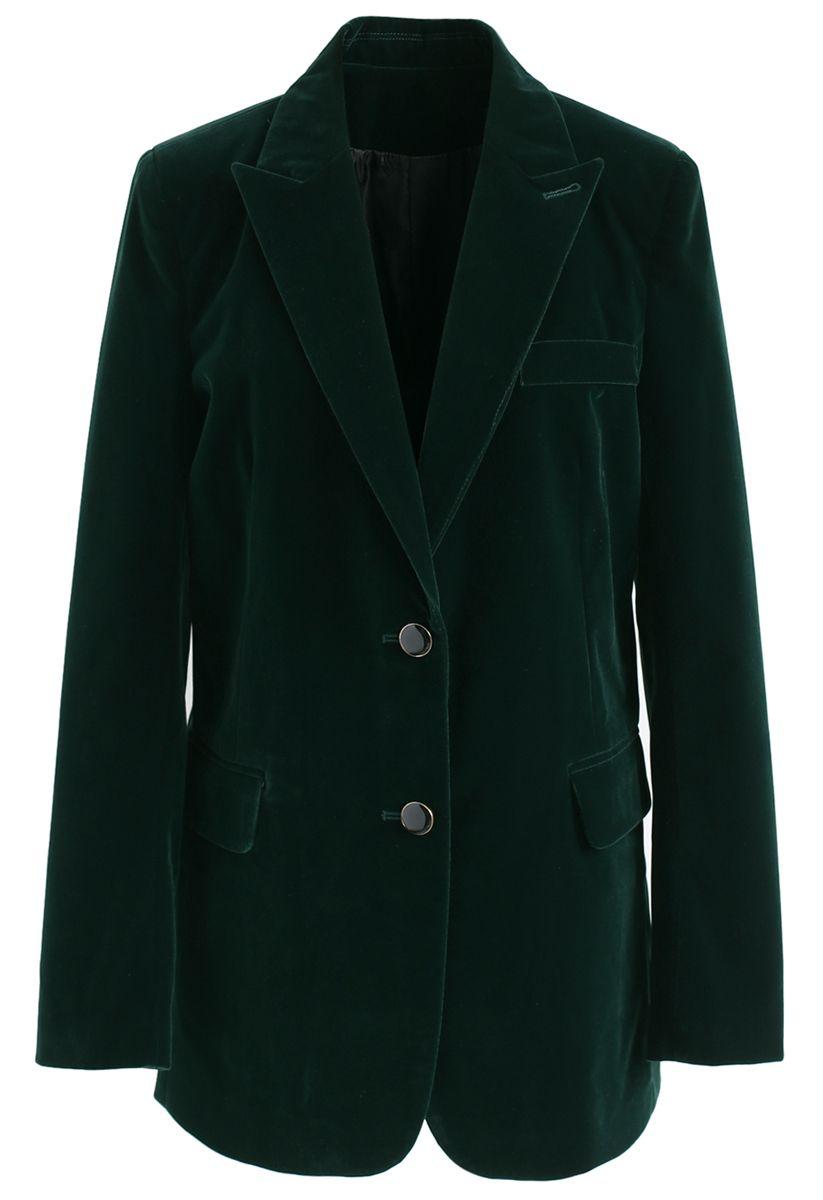 Noble Chic Velvet Blazer in Dark Green