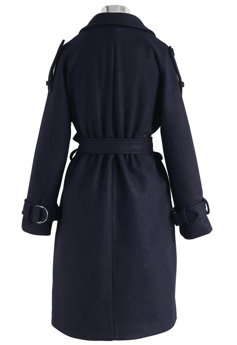 Snug Double-Breasted Wool-Blend Coat in Navy