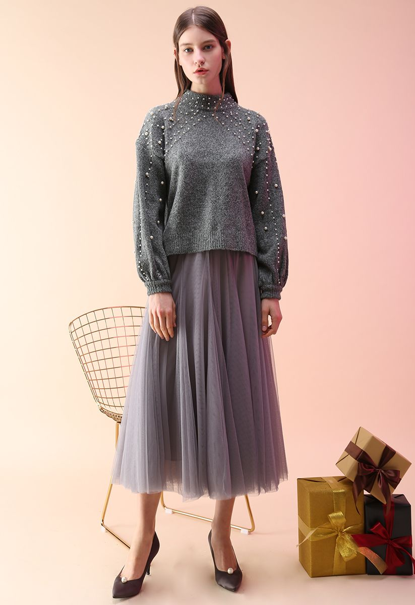 My Secret Weapon Tulle Maxi Skirt in Grey