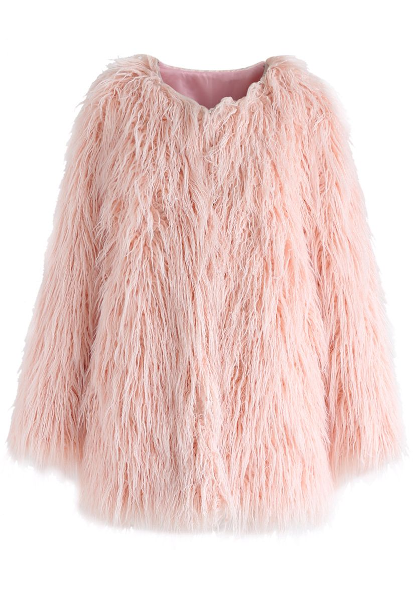 My Chic Faux Fur Coat in Pink