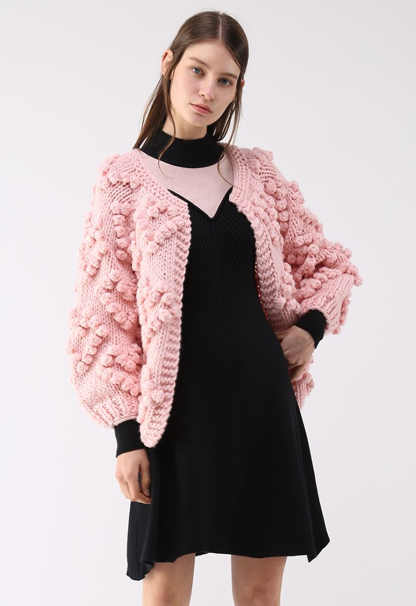 Knit Your Love Cardigan in Pink