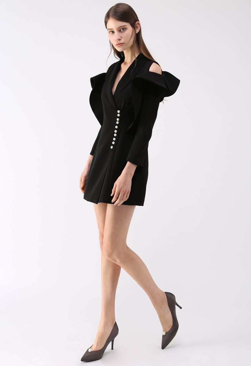 Shining Pearls V-Neck Cold-Shoulder Coat Dress in Black