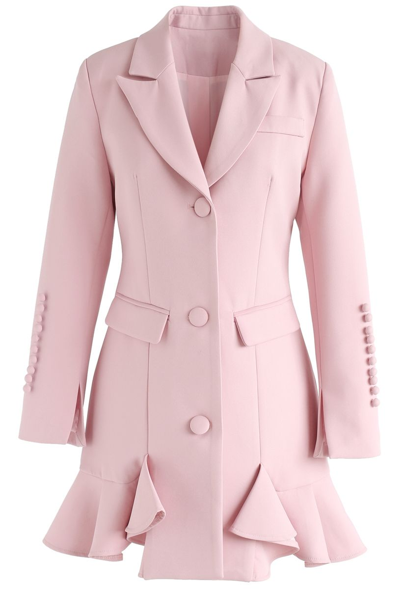 Classy Vogue Peplum Coat Dress in Pink