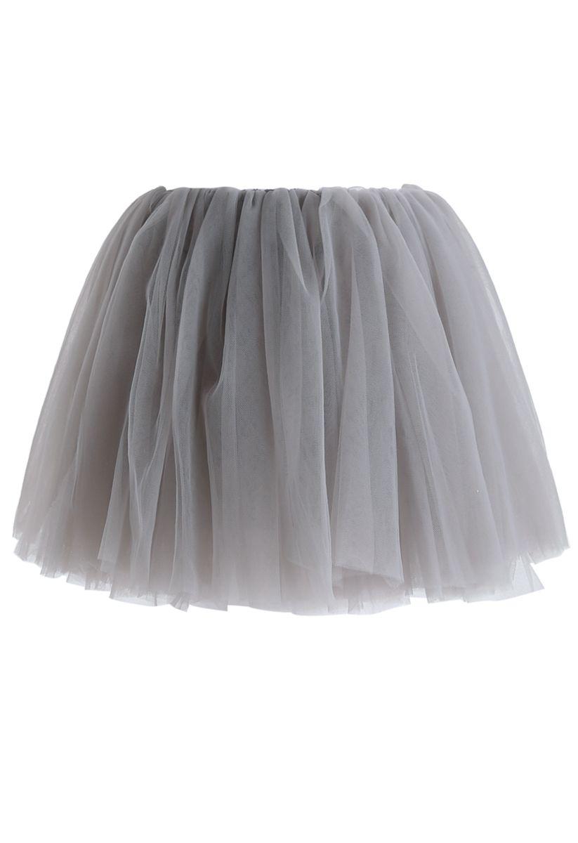 Amore Mesh Tulle Skirt in Grey For Kids