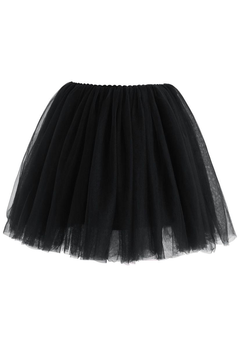 Amore Mesh Tulle Skirt in Black For Kids