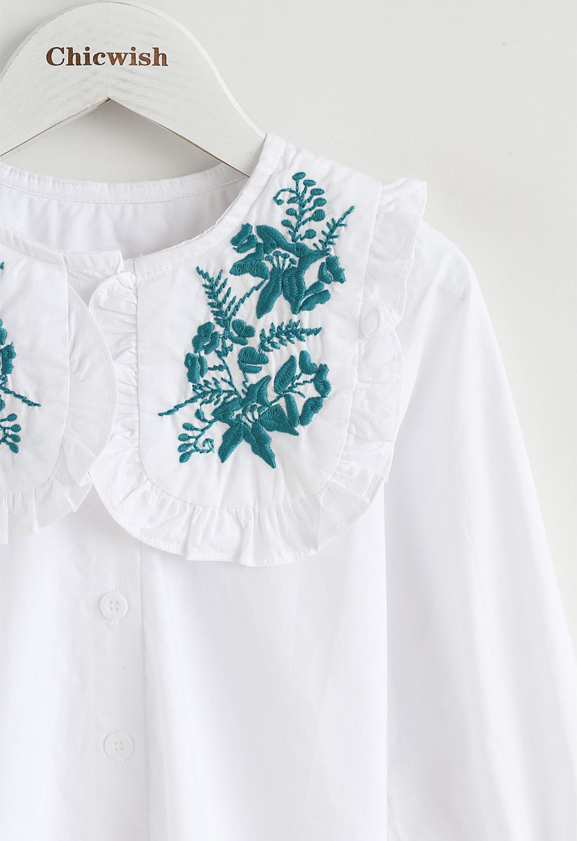 Harmonious Source Embroidered Top in White For Kids