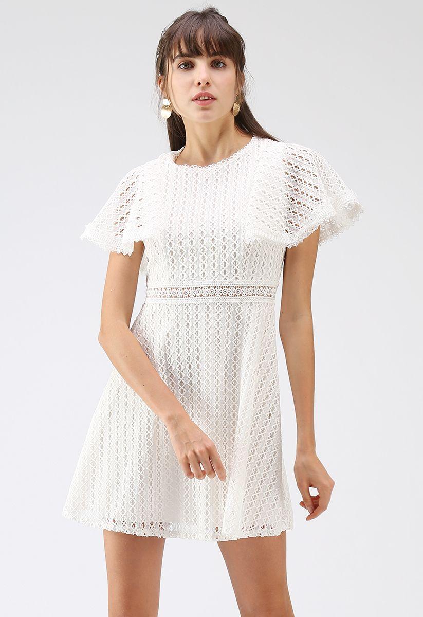 Crochet Me Grace Mini Dress in White